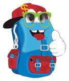 Trendy backpack show gesture. Cool and smiling school backpack show gesture royalty free illustration