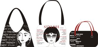 Trendy Bags. An illustration depicting fashionable bags Stock Images