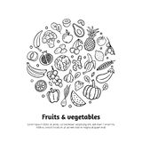 Trendy banner with fruits, vegetables, and text in organic doodle style. vector illustration