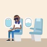 Trendy bearded black man sleeping on the plane Royalty Free Stock Image