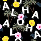 Trendy and Beautiful seamless 3D typo ALOHA mix with summer motive pattern on black background. Landscape with palm royalty free illustration