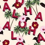 Trendy and Beautiful seamless 3D typo ALOHA mix with summer motive pattern on light pink background. Landscape with palm royalty free illustration