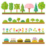 Trendy beautiful set of flat plants forest elements include grass, berries, bushes and trees vector illustration. Royalty Free Stock Image