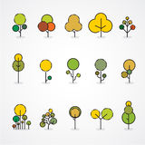Trendy and beautiful set of flat trees and forest elements. Stock Photography