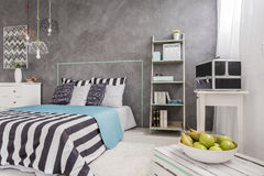 Trendy bedroom with new wall finish idea Stock Images