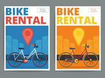 Trendy bicycle rental service poster design. Modern vector bike Stock Photography