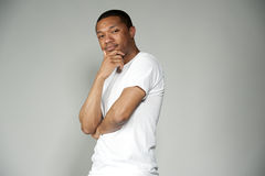 Trendy Black Male Wearing White with Copy Space Royalty Free Stock Photos