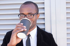 Trendy black man have coffee break Stock Photo