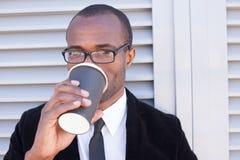 Trendy black man have coffee break stock photo