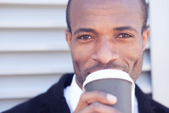 Trendy black man have coffee break Stock Photos