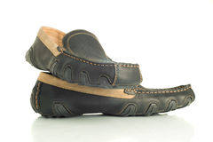 Trendy black mens shoes moccasins Royalty Free Stock Photo