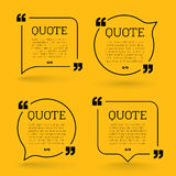 Trendy block quote modern design elements. Creative quote and comment text frame Royalty Free Stock Photos