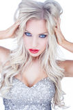 Trendy blue-eyed blond woman Royalty Free Stock Images
