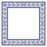 Trendy blue national ornament in the shape of a square frame. The style of ethnic painting on porcelain. Vector illustration vector illustration