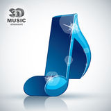 Trendy blue slim musical note 3d modern style icon . Royalty Free Stock Photos