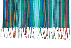 Trendy blue striped scarf closeup. Royalty Free Stock Image