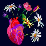 Realistic style heart and blooming flowers. Royalty Free Stock Photos