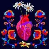 Realistic style heart and blooming flowers. Royalty Free Stock Photo