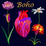 Realistic style heart and blooming flowers. Stock Photos
