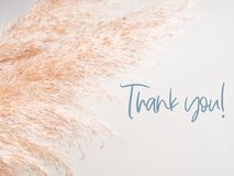 Trendy botanical background with Thank you text