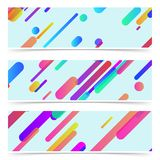 Trendy bright colorful neon lines banner collection Royalty Free Stock Images