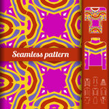 Trendy bright seamless pattern with examples of usage. Fashion c Royalty Free Stock Photos