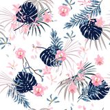 Trendy bright summer sweet Tropical with flowers palm leaves,Exotic leaf seamless vector floral pattern royalty free illustration