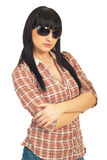 Trendy brunette with fashion sunglasses Stock Photography