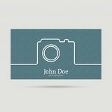 Trendy business card. Icon camera. symbol of the photographer. flat minimal. Outline. abstract background stock illustration