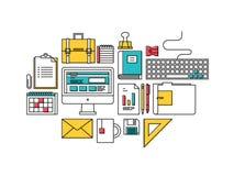 Trendy business development items icons vector illustration