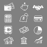 Trendy business and economics white icons  set Stock Photos