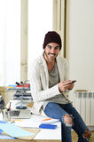 Trendy businessman hipster informal look laughing happy on mobile phone Stock Image