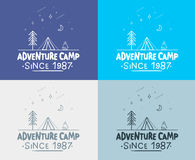 Trendy Camping Label. hand drawn t shirt Print. Typographic Design. vector illustration for you design. Stock Photos