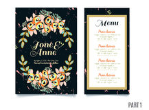 Trendy card with roses for weddings, save the date invitation, RSVP and thank you cards. Trendy black card with roses for weddings, save the date invitation Stock Photos