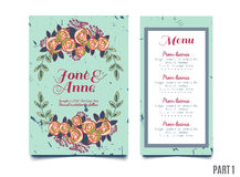 Trendy card with roses for weddings, save the date invitation, RSVP and thank you cards. Trendy blue card with roses for weddings, save the date invitation Stock Photo