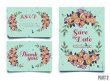 Trendy card with roses for weddings, save the date invitation, RSVP and thank you cards. Trendy blue card with roses for weddings, save the date invitation Royalty Free Stock Photo