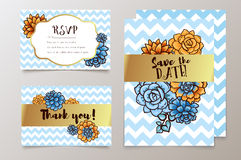 Trendy card with succulent for weddings, save the date invitation, RSVP and thank you cards. Royalty Free Stock Photo