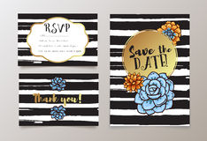 Trendy card with succulent for weddings, save the date invitation, RSVP and thank you Royalty Free Stock Images