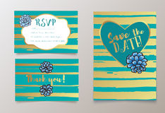 Trendy card with succulent for weddings, save the date invitation, RSVP and thank you. Valentines day  cards. Contemporary glamour  template decorated with Royalty Free Stock Photography
