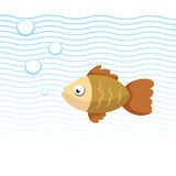 Trendy cartoon fish swimming underwater. Blue waves and bubbles. Colorful vector flat style illustration Stock Image