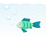 Trendy cartoon green fish swimming underwater. Blue waves and bubbles. Colorful vector flat style illustration Stock Photos