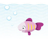 Trendy cartoon pink smiling fish swimming underwater. Blue waves and bubbles. Colorful vector flat style illustration royalty free illustration