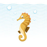 Trendy cartoon sea horse swimming underwater. Stock Photos