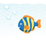 Trendy cartoon striped fish swimming underwater. Blue waves and bubbles. Colorful vector flat style illustration Royalty Free Stock Images