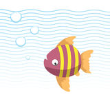 Trendy cartoon striped fish swimming underwater. Blue waves and bubbles. Colorful vector flat style illustration Stock Image