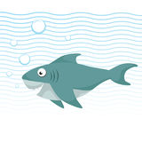 Trendy cartoon style cheerful shark with big eyes swimming underwater. Waves and bubbles. Educational simple gradient vector icon Stock Photo