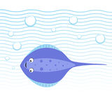 Trendy cartoon style cheerful stingray swimming underwater. Waves and bubbles. Educational simple gradient vector icon. EPS10 + JPEG preview Stock Image