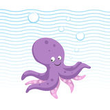 Trendy cartoon style octopus character. Simple gradient flat design for kid education. Waves and bubbles. Underwater life. EPS10 + JPEG preview Stock Photography