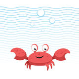 Trendy cartoon style red crab character. Simple gradient flat design for kid education. Waves and bubbles. Underwater life Stock Photo