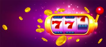 Trendy Casino Vector with Slot Machine and Coins vector illustration
